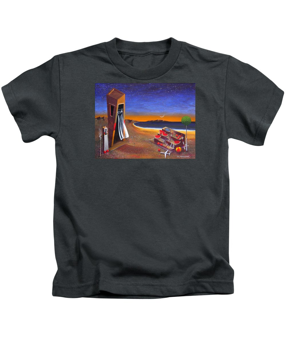 Landscape Kids T-Shirt featuring the painting The School Of Metaphysical Thought by Dimitris Milionis