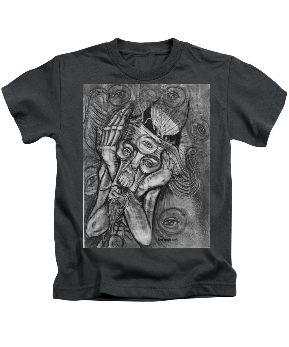 The Scream Kids T-Shirt featuring the drawing The Scream by Americo Salazar