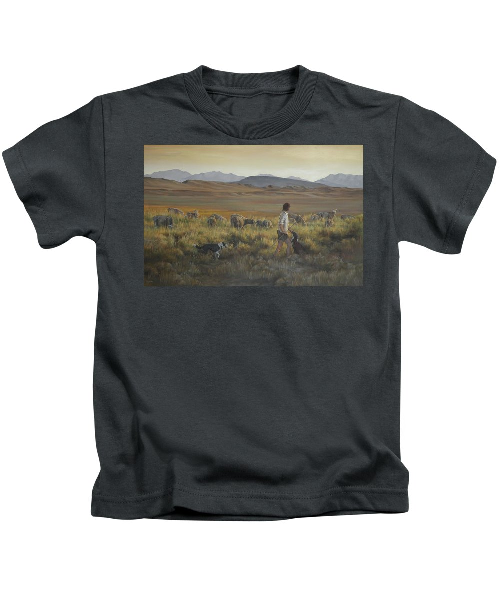 Sheep Herders Kids T-Shirt featuring the painting The Shepherdess by Mia DeLode