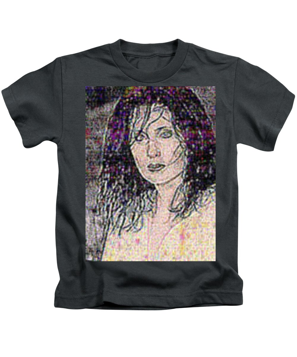 Female Portrait Kids T-Shirt featuring the digital art The Shift by Erin Franklyn