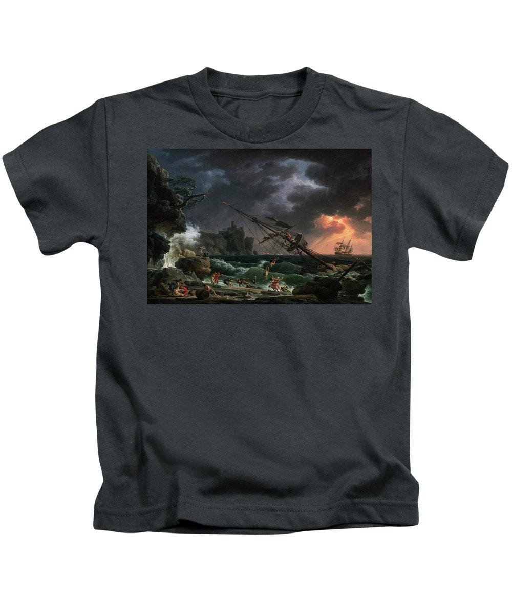 Claude-joseph Vernet Kids T-Shirt featuring the painting The Shipwreck by Claude-Joseph Vernet