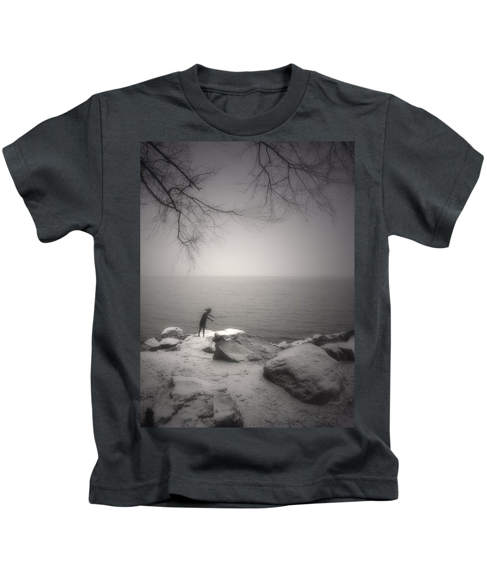 Statue Kids T-Shirt featuring the photograph The Snow Gatherer by Tara Turner