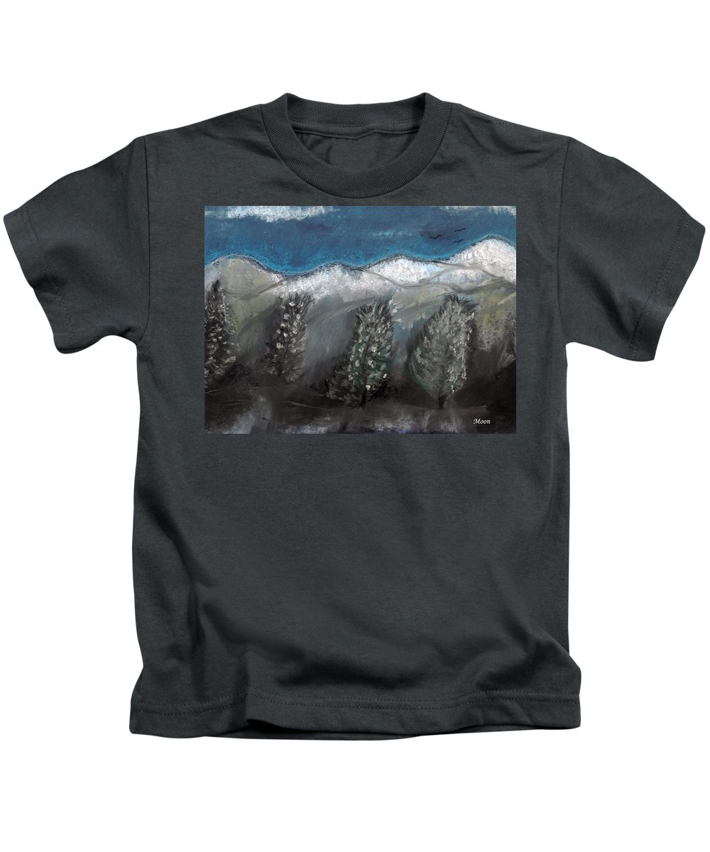 Trees Kids T-Shirt featuring the pastel The Snow by Melvin Moon