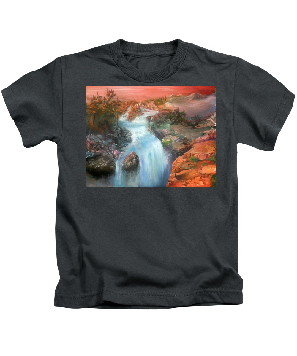 Waterfall Kids T-Shirt featuring the painting The Source by Sherry Shipley