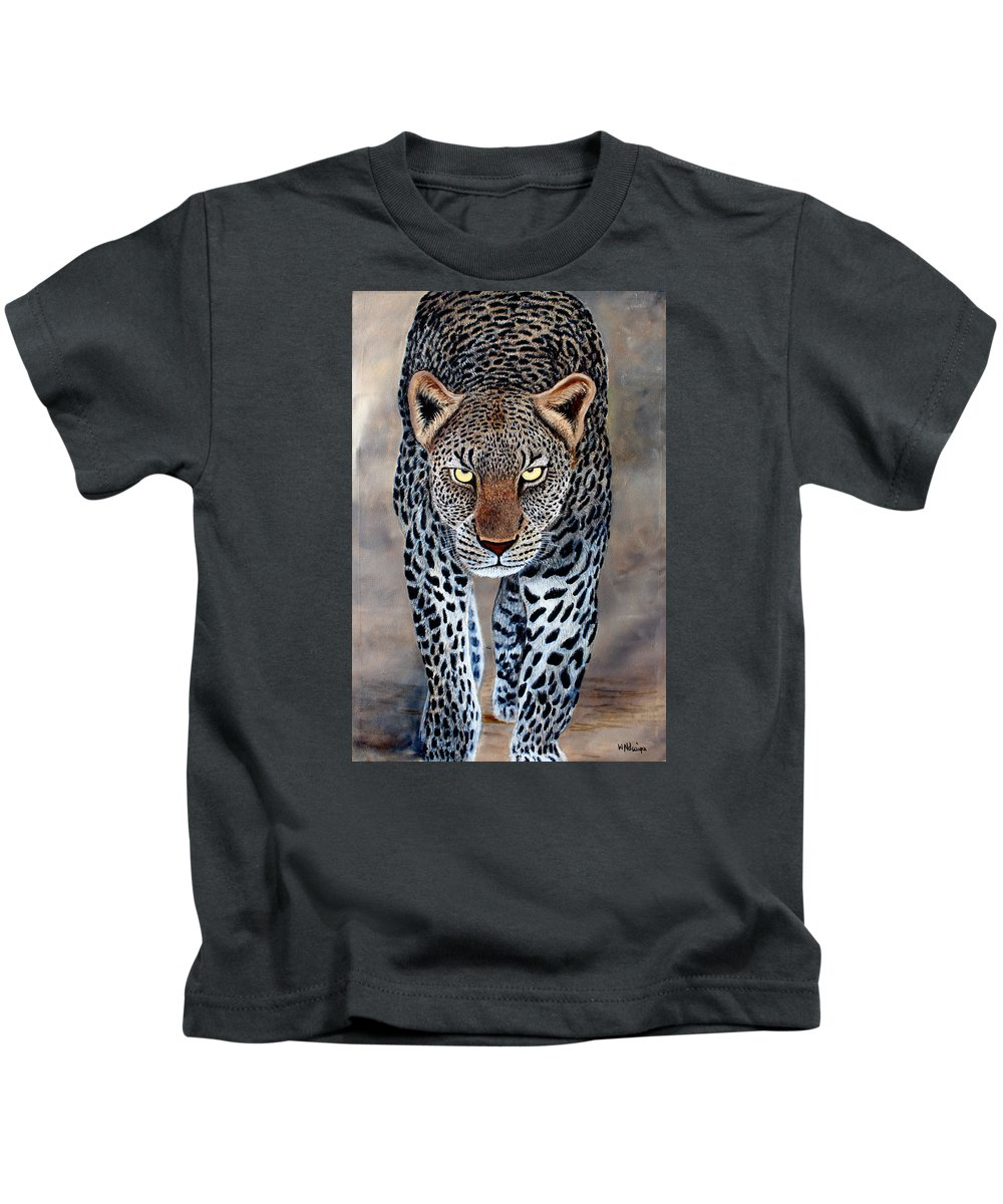 True African Art Kids T-Shirt featuring the painting The Staredown by Wycliffe Ndwiga