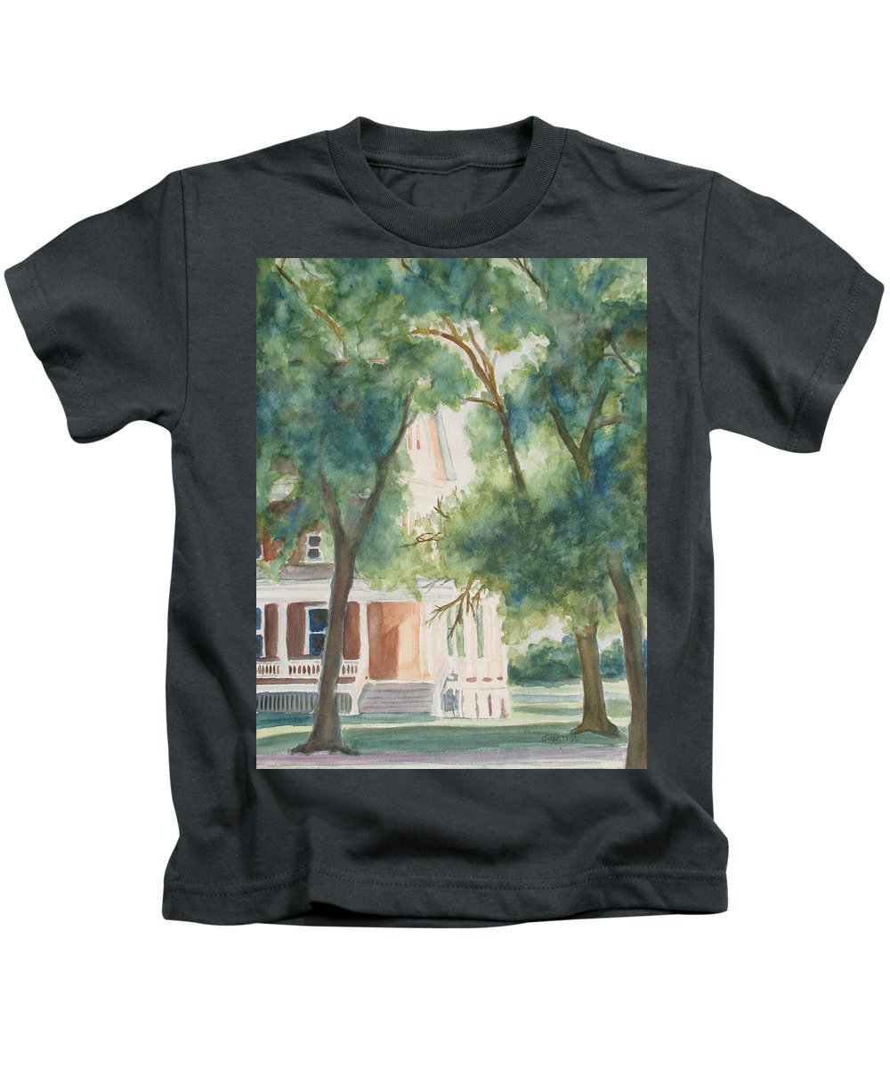 House Kids T-Shirt featuring the painting The Sunlit Porch by Jenny Armitage