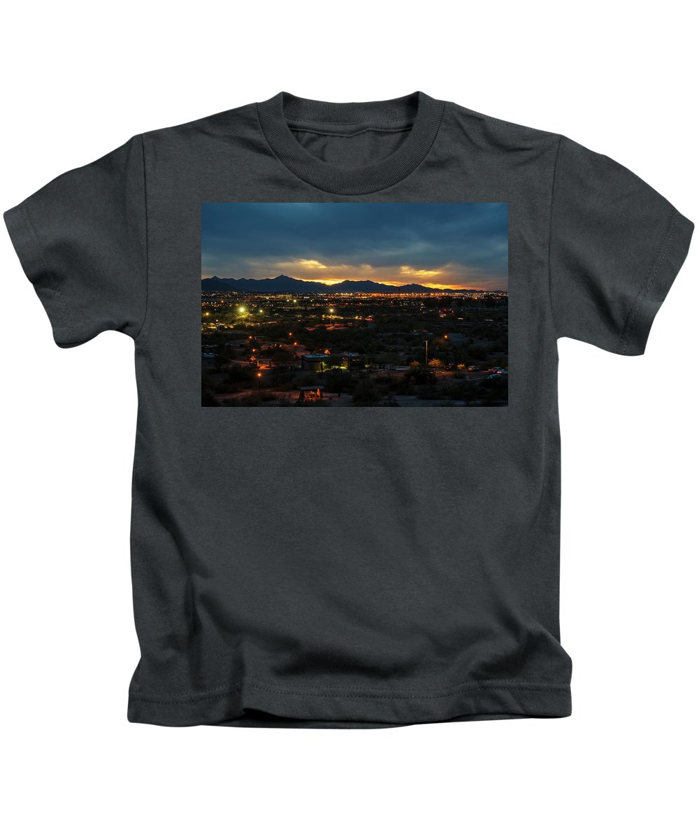 Phoenix Kids T-Shirt featuring the photograph The Sunset From Popago Park Phoenix Arizona Az Golden by Toby McGuire