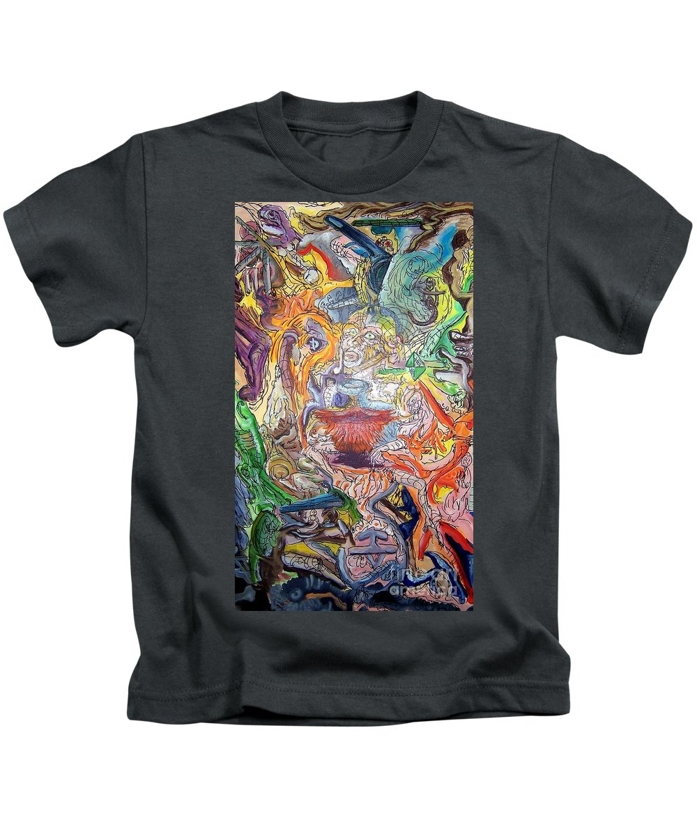 Surrealism Kids T-Shirt featuring the painting The Surreal Caturday by Timothy Michael Foley