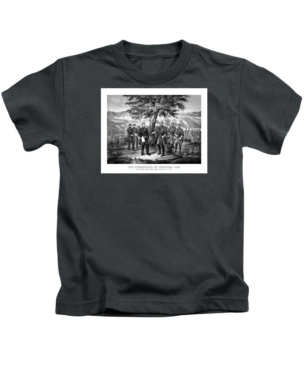 Civil War Kids T-Shirt featuring the mixed media The Surrender Of General Lee by War Is Hell Store