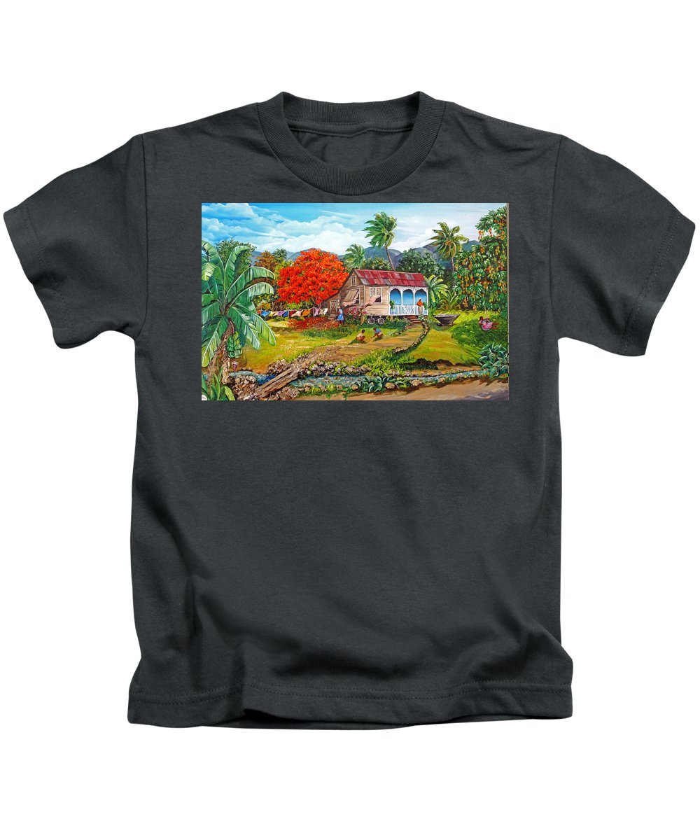 Tropical Scene Caribbean Scene Kids T-Shirt featuring the painting The Sweet Life by Karin Dawn Kelshall- Best
