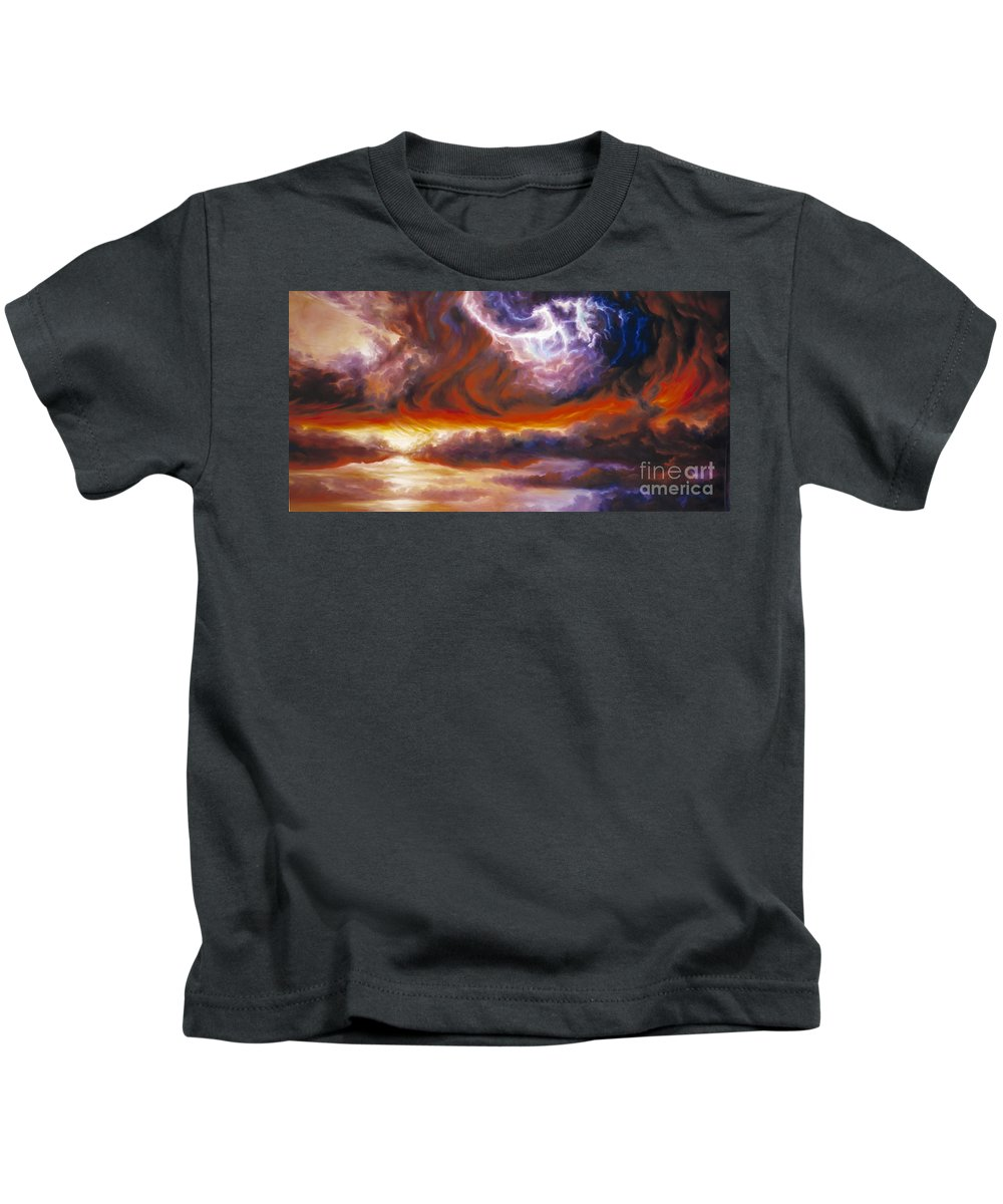 Tempest Kids T-Shirt featuring the painting The Tempest by James Christopher Hill