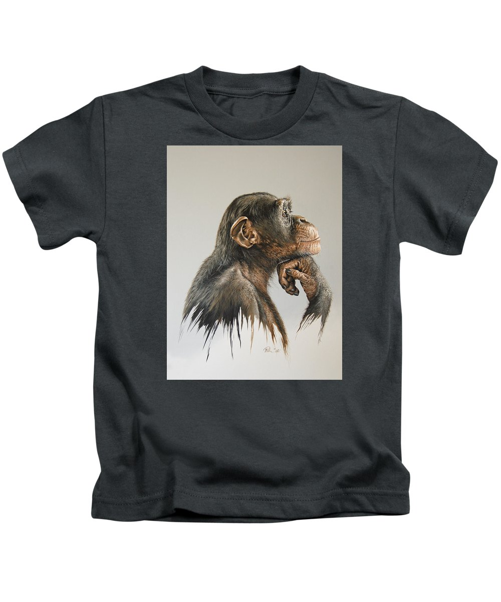 Painting Kids T-Shirt featuring the painting The Thinker by Mario Pichler