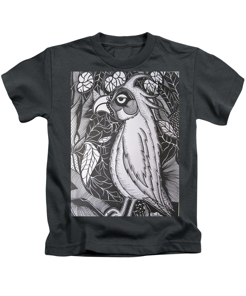 Parrot Kids T-Shirt featuring the drawing The Tired by Rosita Larsson