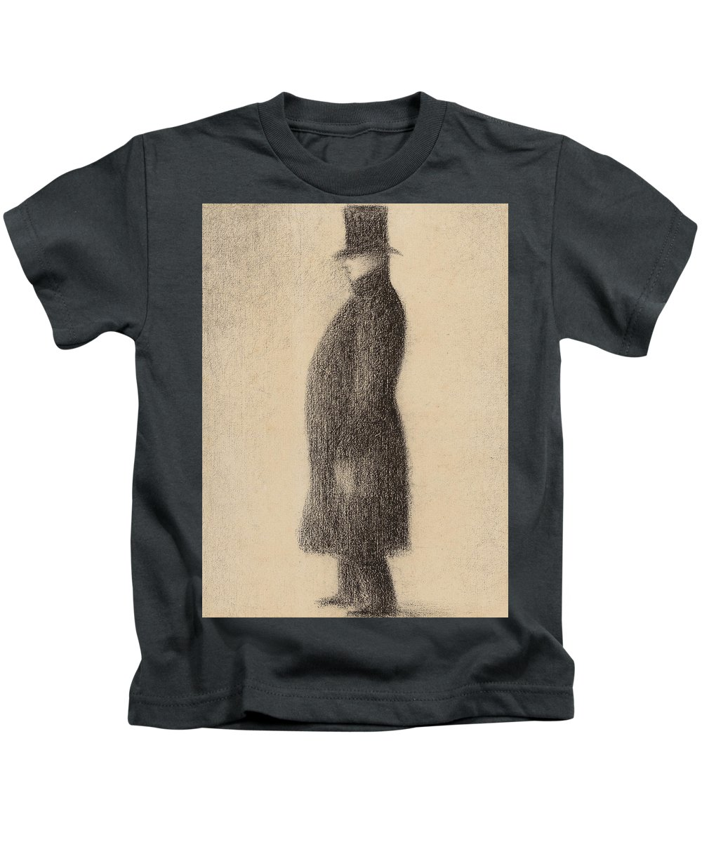 Seurat Kids T-Shirt featuring the drawing The Top Hat by Georges Pierre Seurat