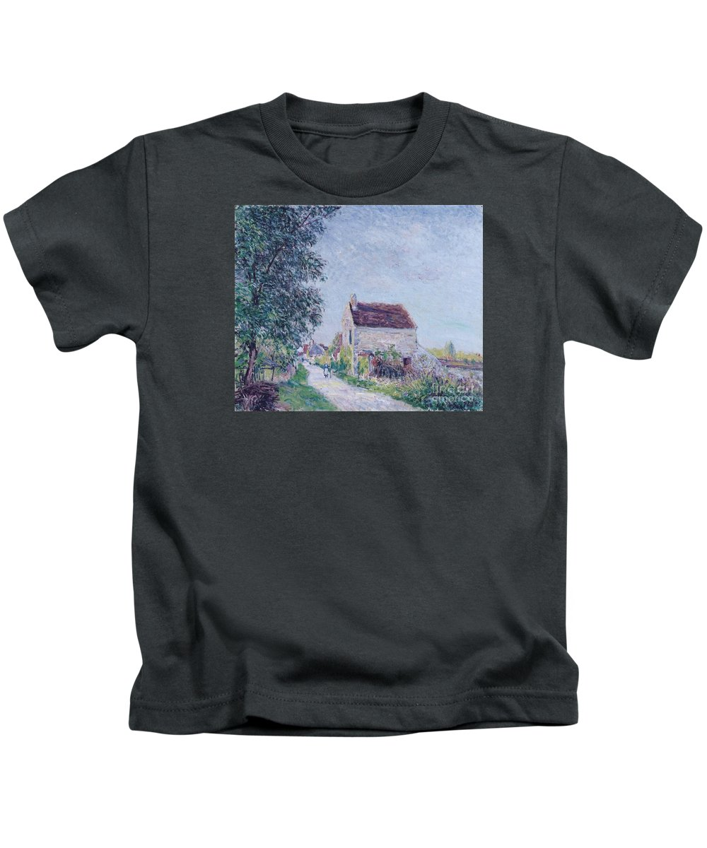 The Village Of Sablons Kids T-Shirt featuring the painting The Village Of Sablons by MotionAge Designs