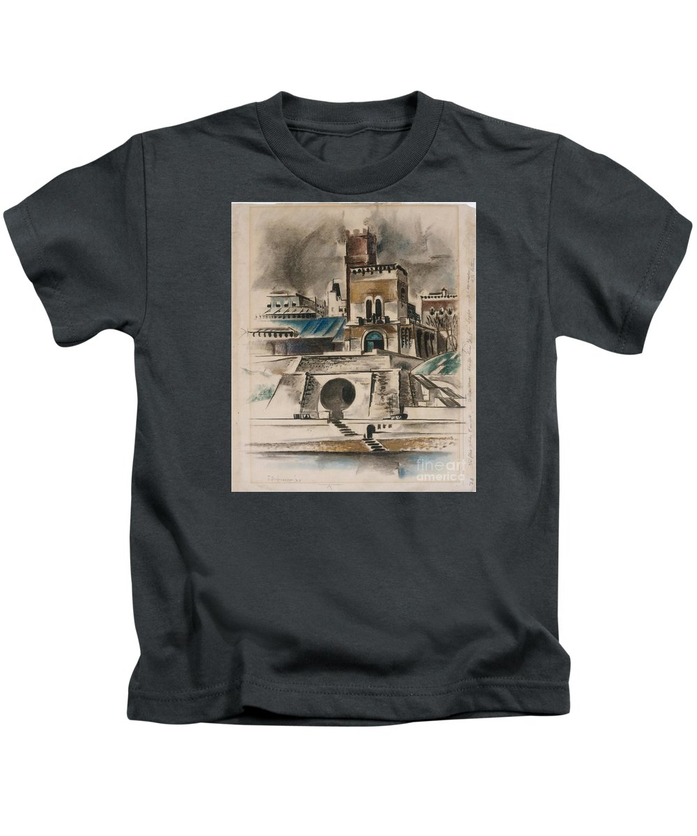 The Water Gate Kids T-Shirt featuring the painting The Water Gate by Celestial Images