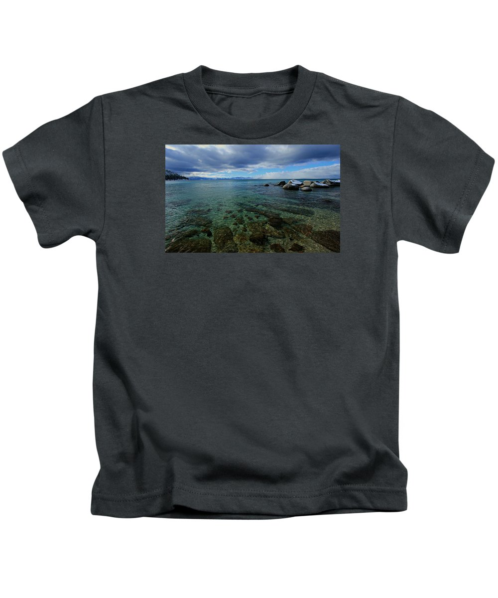 Lake Tahoe Kids T-Shirt featuring the photograph The Waters Edge by Sean Sarsfield