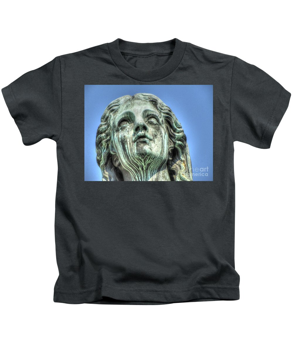 The Weeping Sculpture Kids T-Shirt featuring the pyrography The Weeping Sculpture by Yury Bashkin