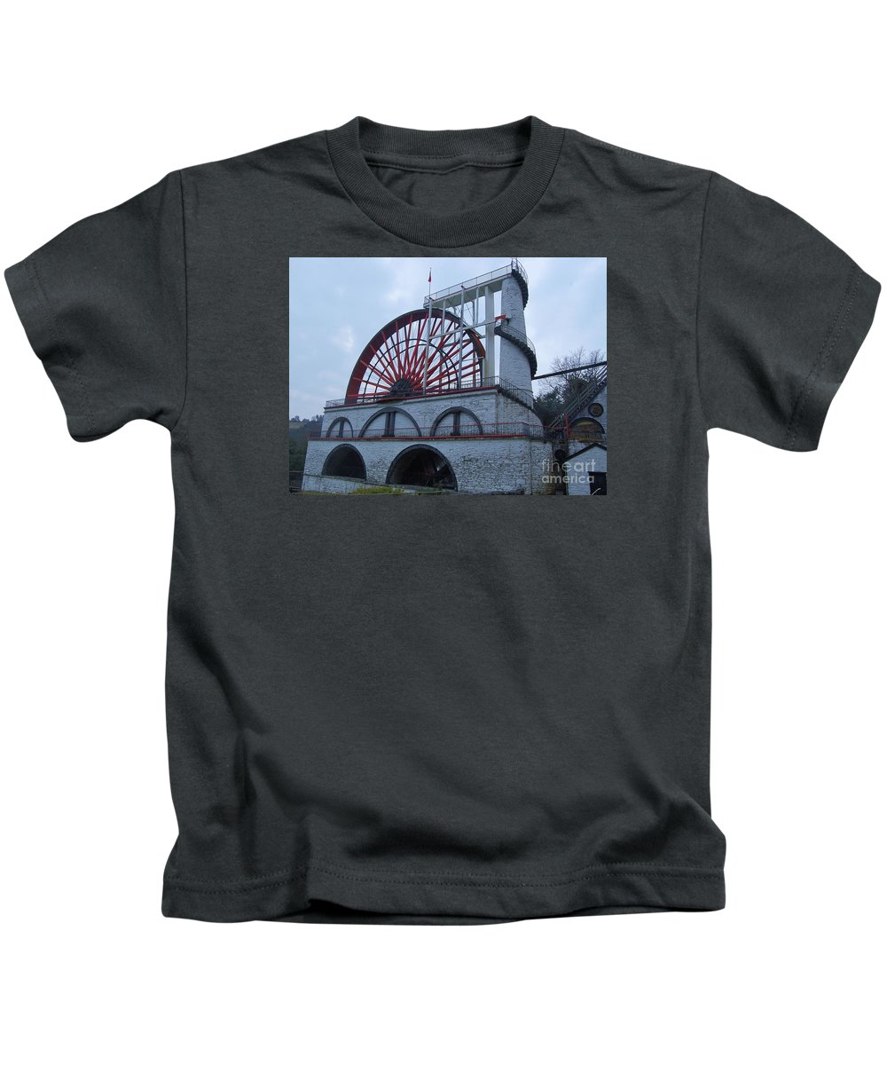 Isle Of Man Water Wheel Iconic Image Aka Lady Isabella White Stone Structure Spiral Staircase Arches Travel Tourism Adventure Impressive Architectural Arches Stone Structure Unique Building 1854 Victorian Era Canvas Print Suggested Poster Print Metal Frame Available On T Shirts Tote Bags Pouches Shower Curtains Weekender Tote Bags And Phone Cases Kids T-Shirt featuring the photograph The Wheel Of Laxey, Isle Of Man by Marcus Dagan
