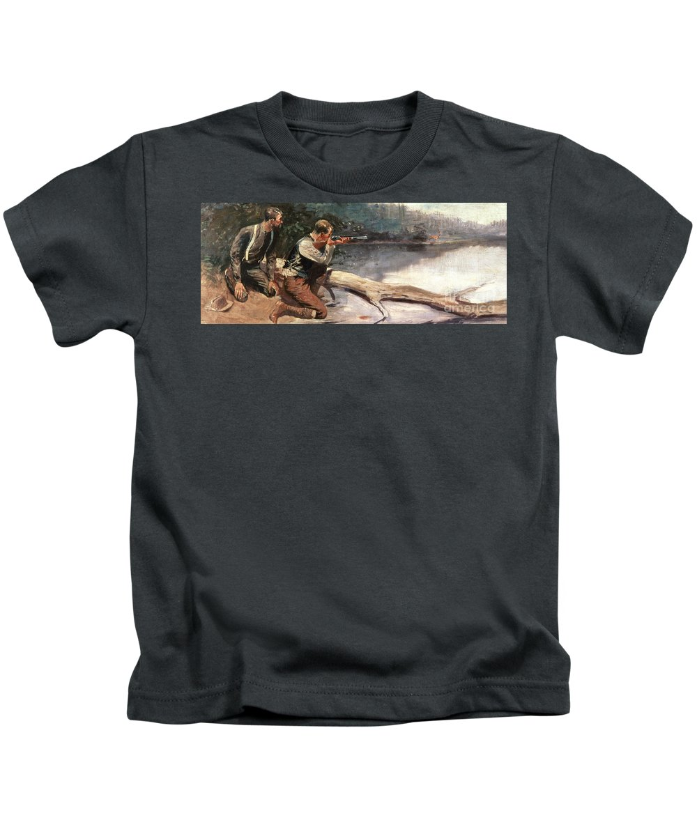 The Winchester By Frederic Remington (1861-1909) Gun Kids T-Shirt featuring the painting The Winchester by Frederic Remington
