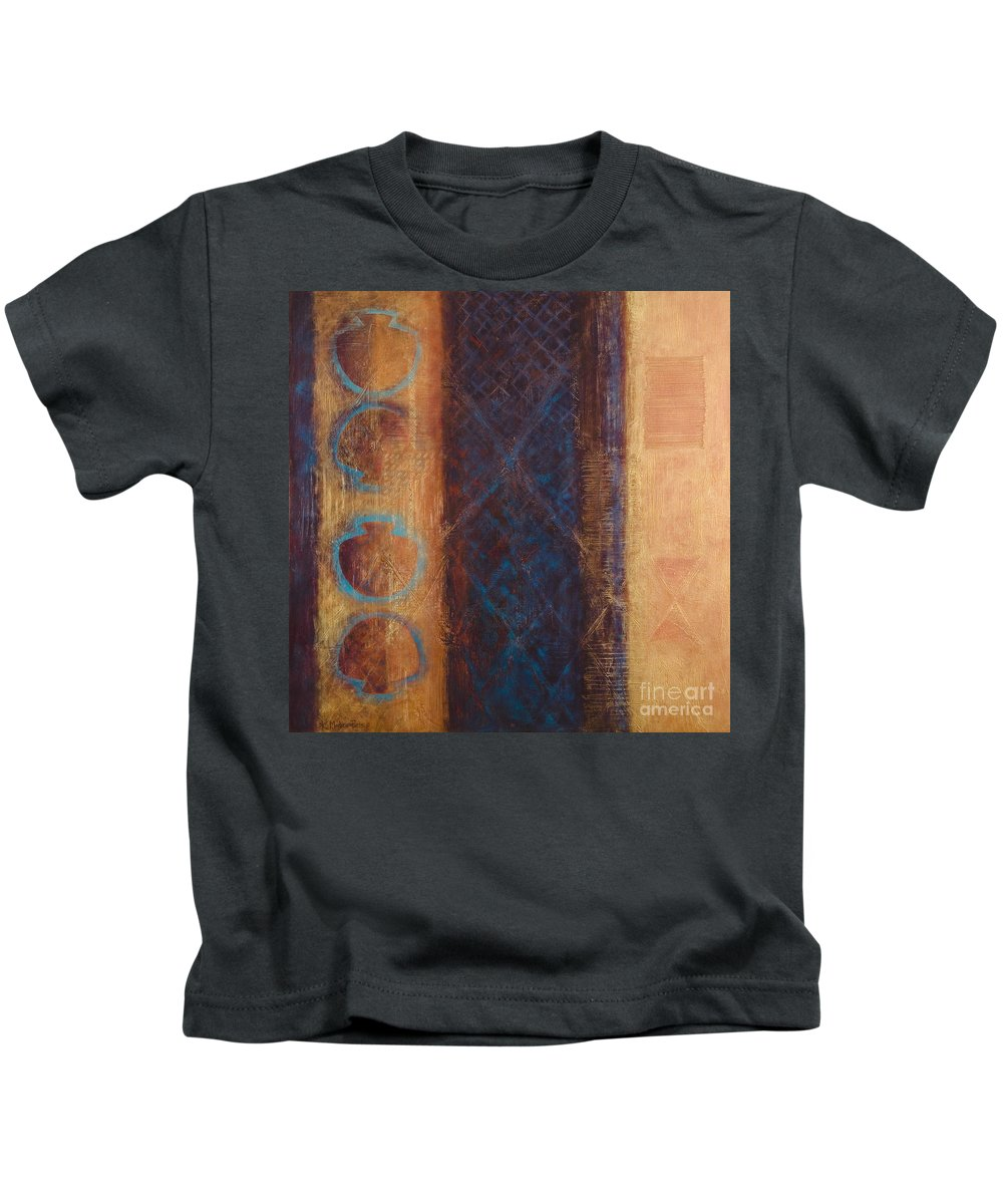Abstract Kids T-Shirt featuring the painting The X Factor Alchemy Of Consciousness by Kerryn Madsen-Pietsch