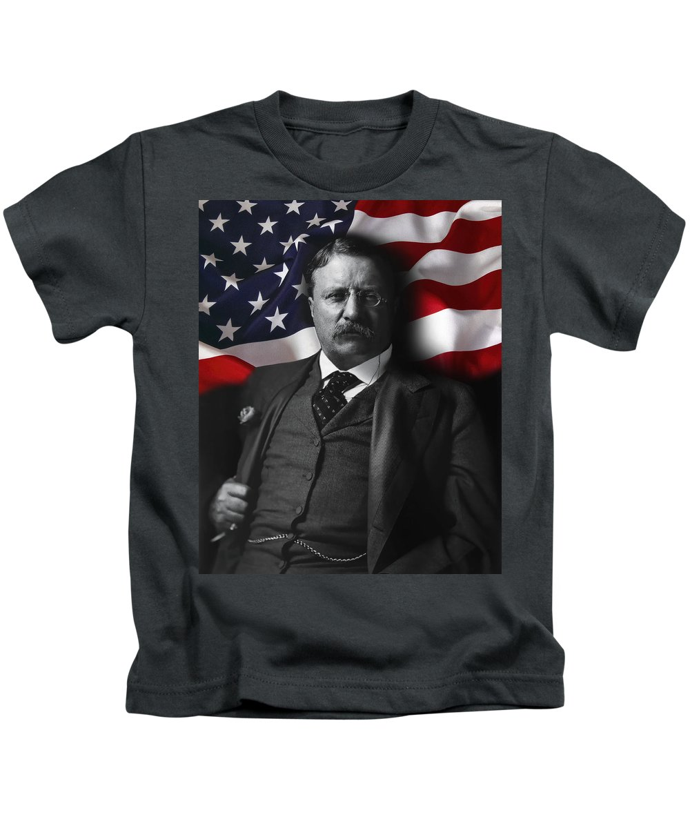 teddy Roosevelt Kids T-Shirt featuring the digital art Theodore Roosevelt 26th President Of The United States by Daniel Hagerman