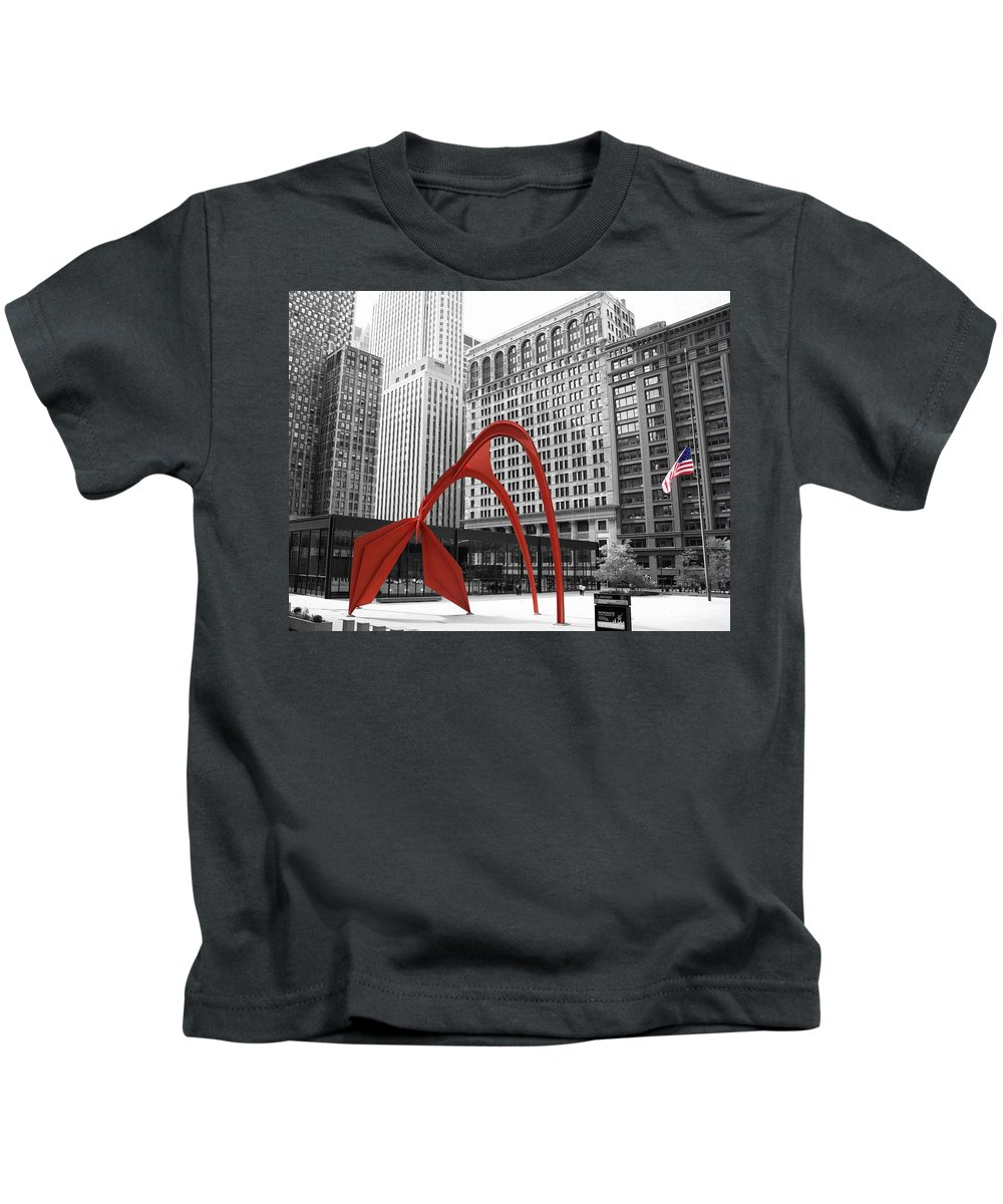 Calders Flamingo Kids T-Shirt featuring the photograph There's A Red Flamingo In Chicago by Alice Gipson