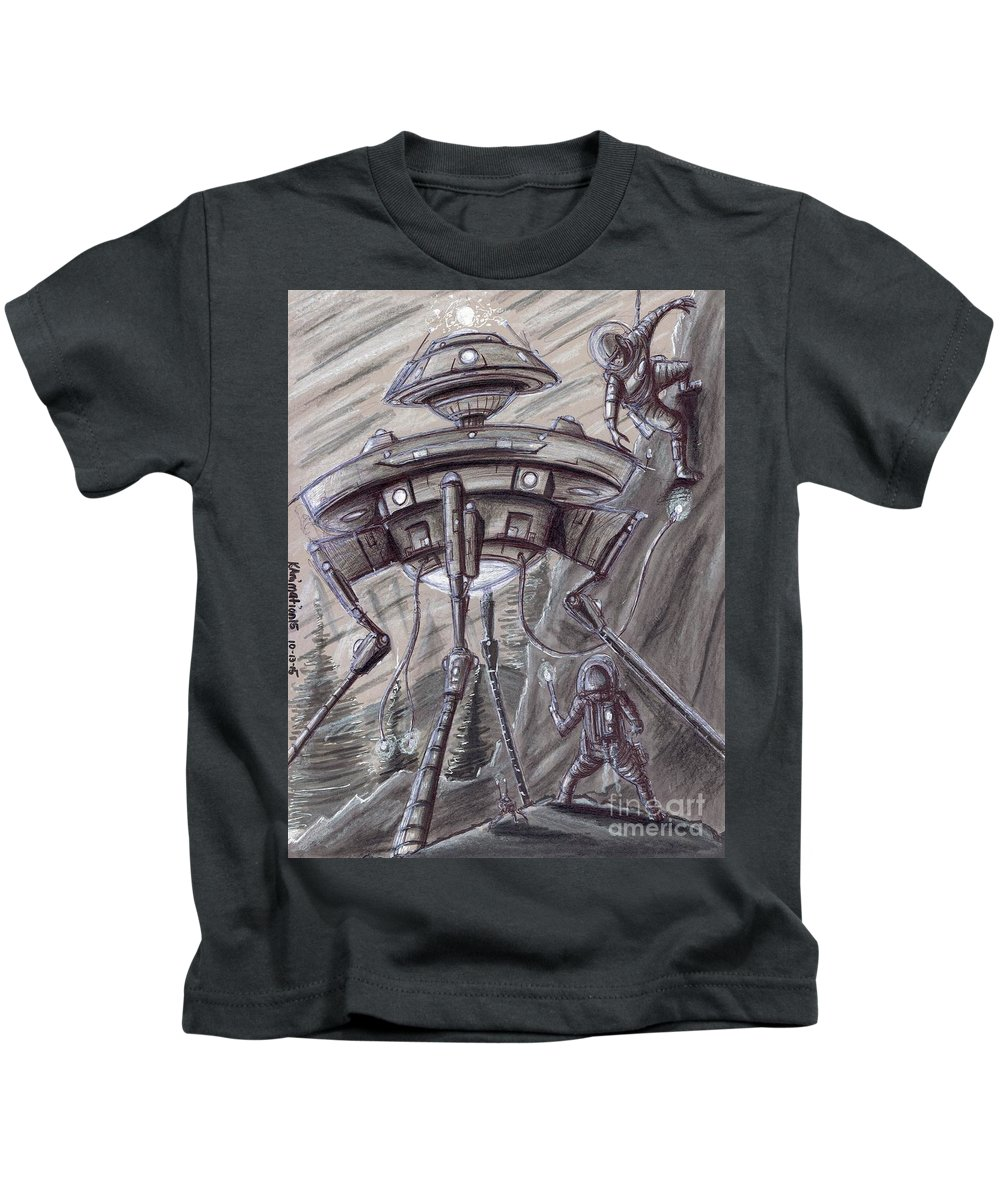 Space Kids T-Shirt featuring the mixed media They Are Here... by Keith Murrell