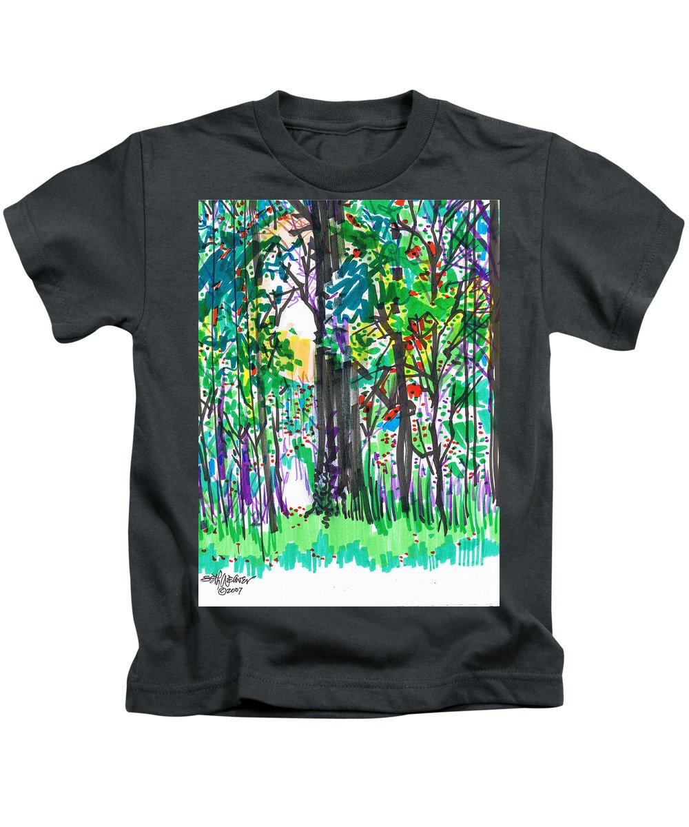 Forest Kids T-Shirt featuring the drawing Thicket by Seth Weaver