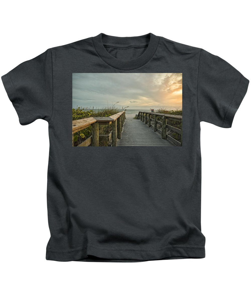 Beach Kids T-Shirt featuring the photograph This Way To The Beach by Shari Jardina