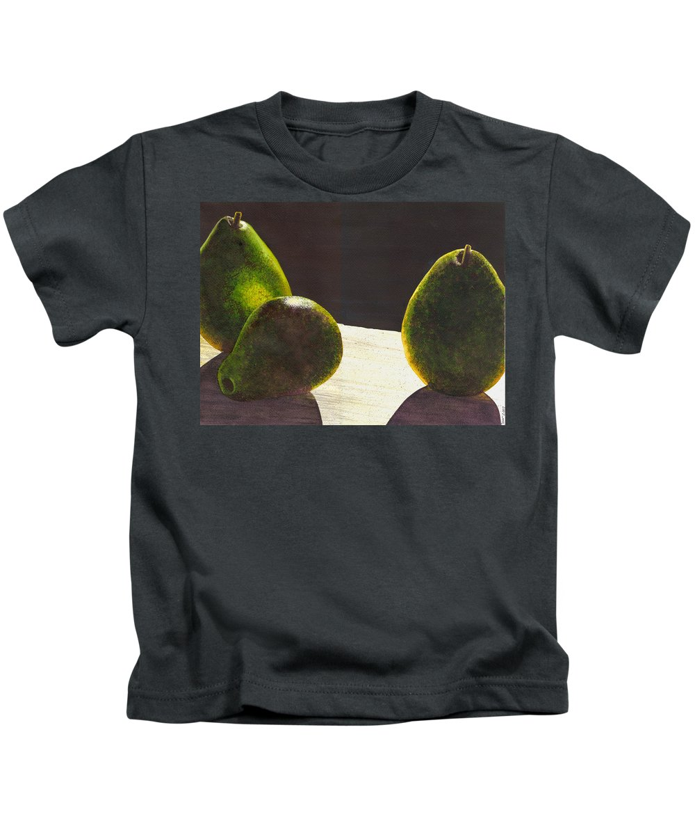 Pears Kids T-Shirt featuring the painting Three Backlit by Catherine G McElroy