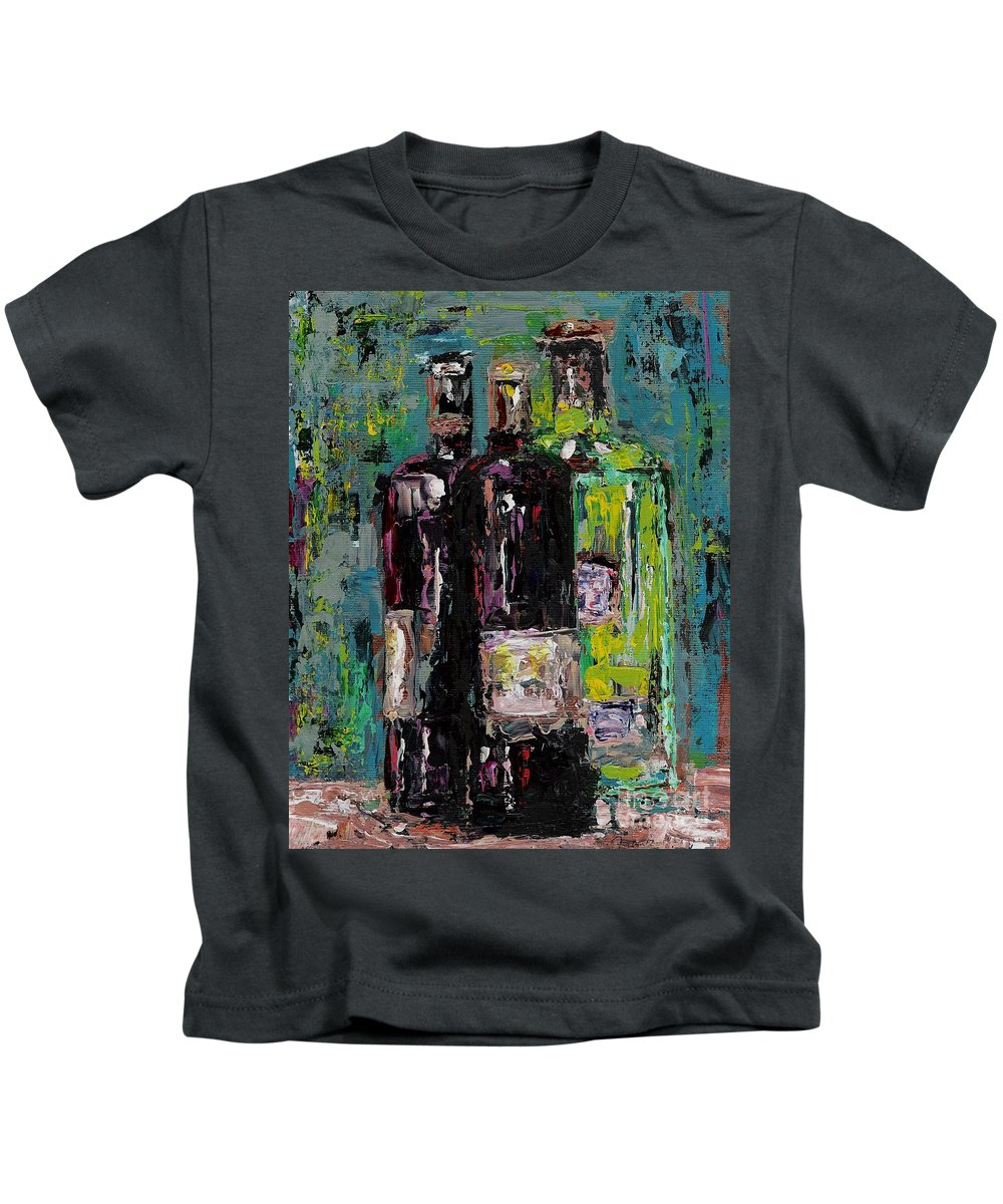 Wine Kids T-Shirt featuring the painting Three Bottles Of Wine by Frances Marino