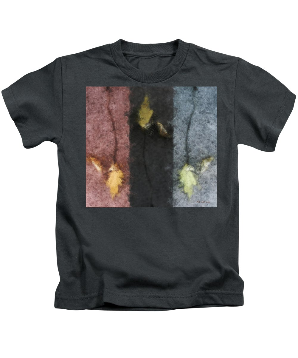 Impressionist Kids T-Shirt featuring the digital art Three Leaves by RC DeWinter