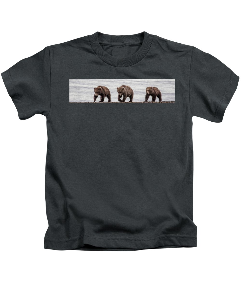 Bears Kids T-Shirt featuring the photograph Three Little Bears by Kathy Whitehurst