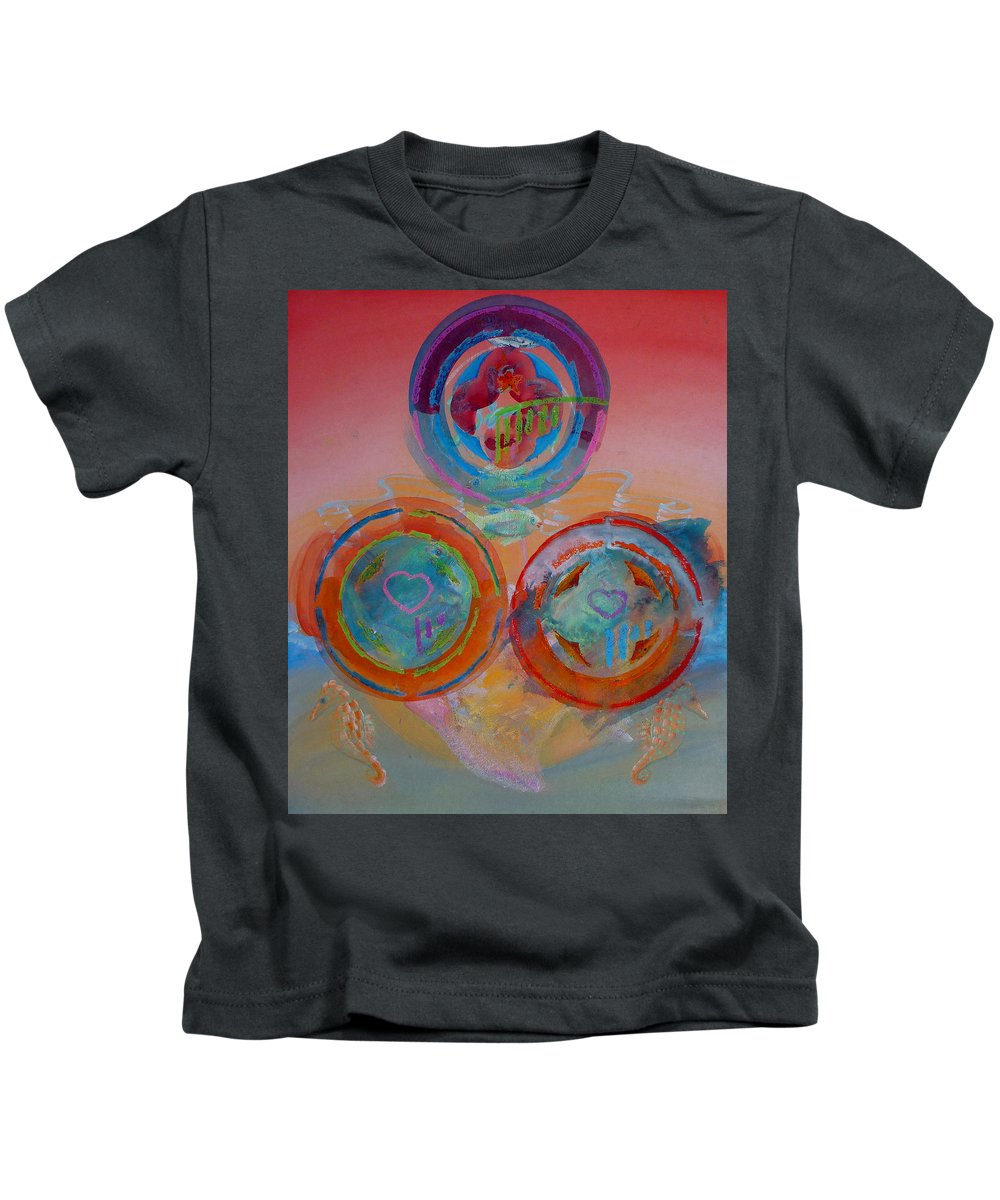 Logo Kids T-Shirt featuring the painting Three On Marine by Charles Stuart
