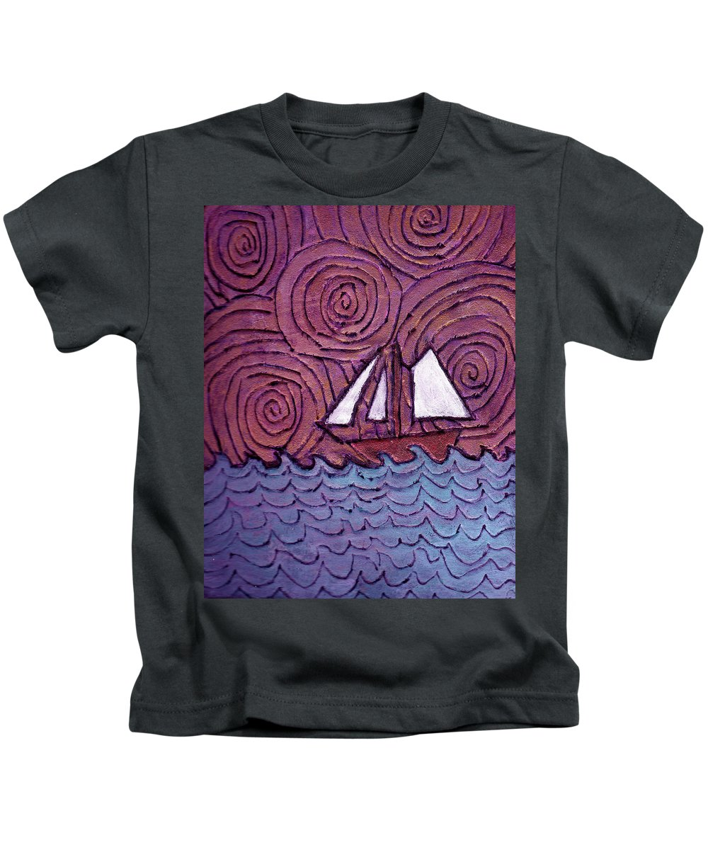 Sailing Kids T-Shirt featuring the painting Three Sails And The Wind by Wayne Potrafka