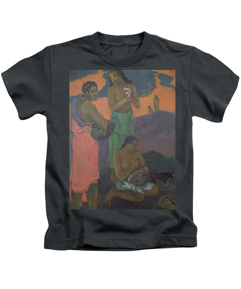 Maternity Kids T-Shirt featuring the painting Three Women On The Seashore by Paul Gauguin