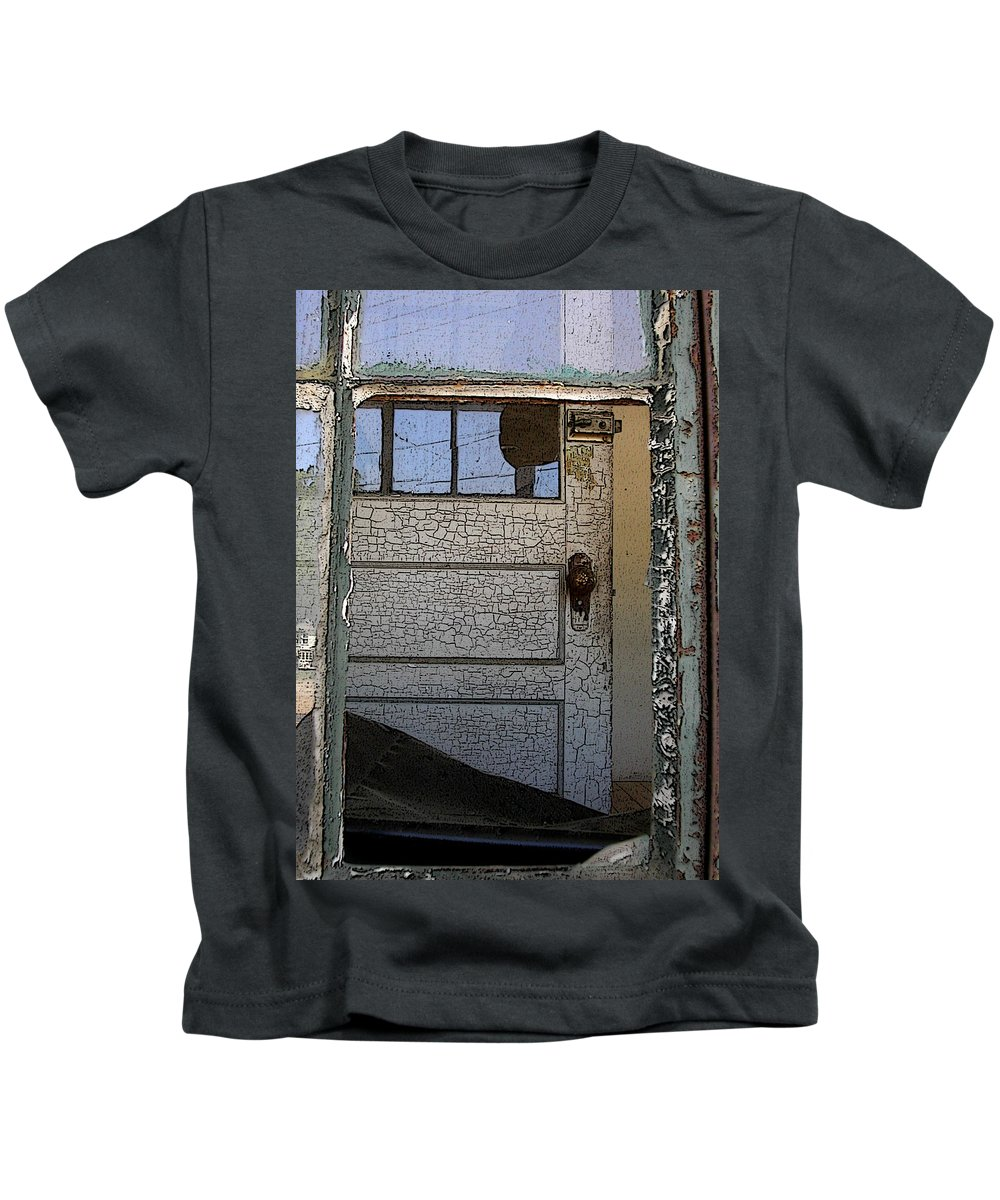 Rustic Kids T-Shirt featuring the photograph Through A Broken Window by Anne Cameron Cutri
