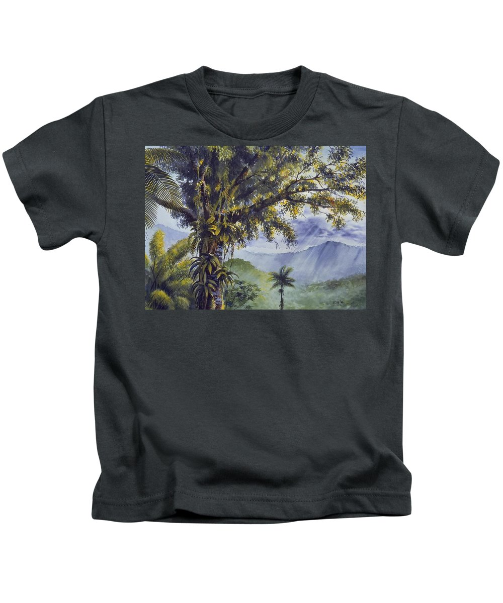 Chris Cox Kids T-Shirt featuring the painting Through The Canopy by Christopher Cox