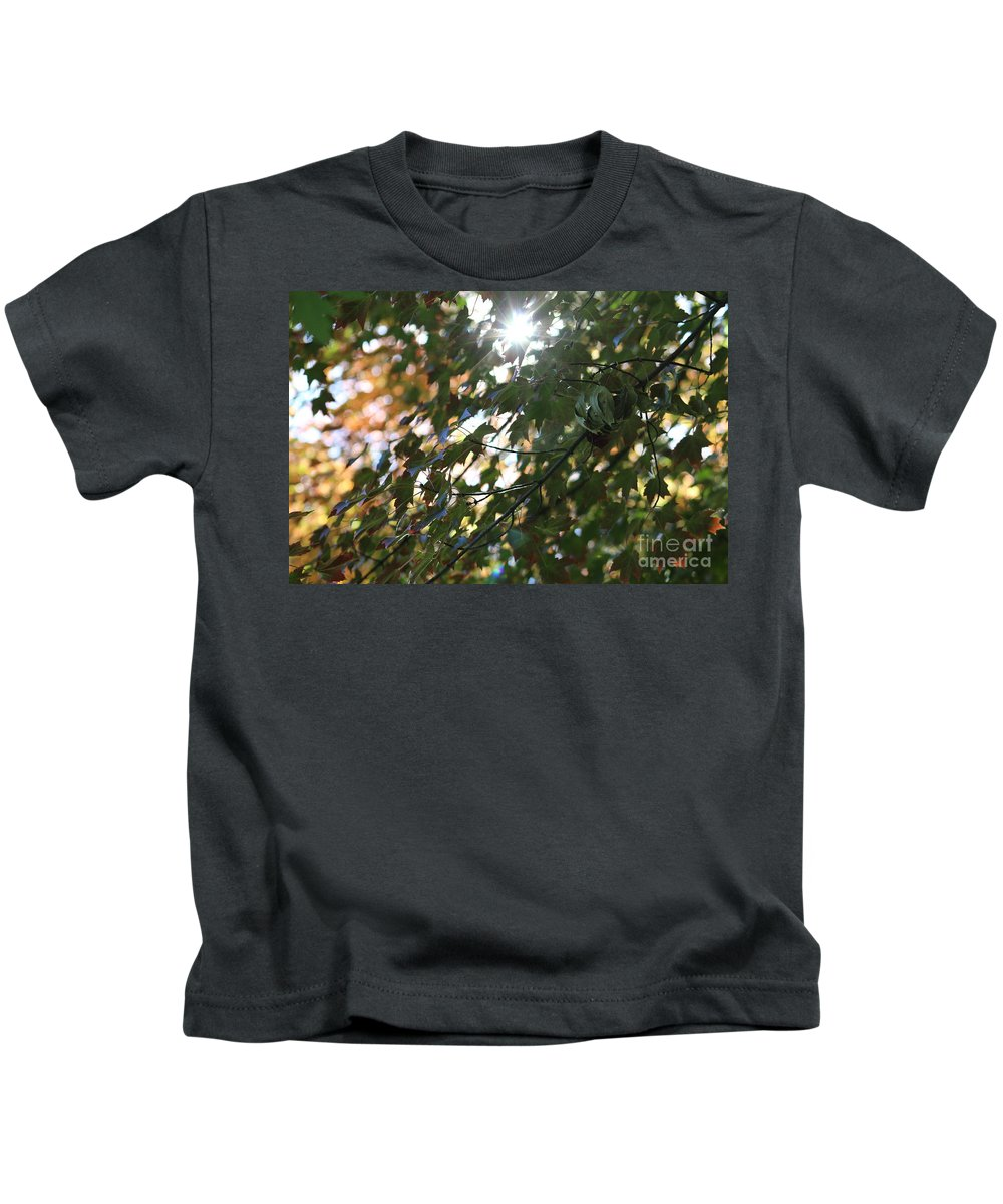 Autumn Kids T-Shirt featuring the photograph Through The Leaves 2 by LKB Art and Photography