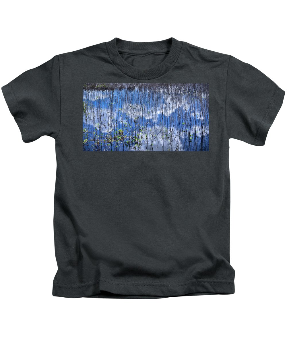 Nature Abstract Kids T-Shirt featuring the photograph Through The Reeds by Carolyn Marshall