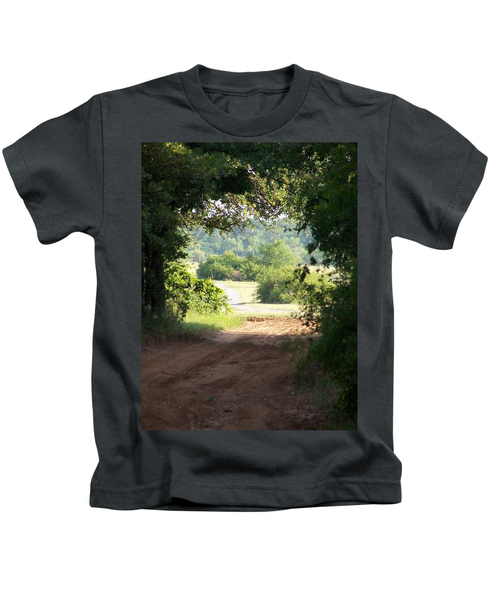 Woods Kids T-Shirt featuring the photograph Through The Woods by Gale Cochran-Smith