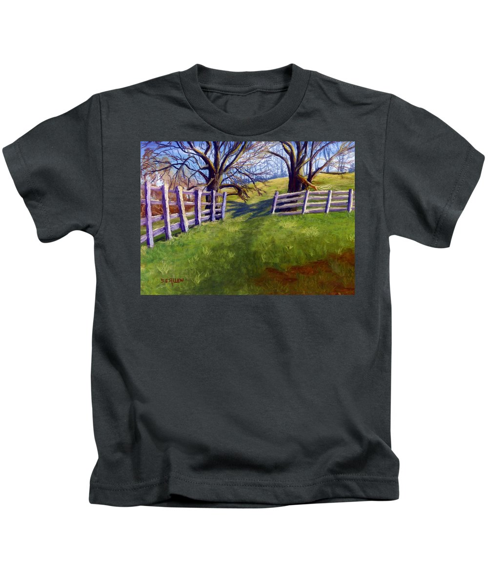 Pasture Kids T-Shirt featuring the painting Throught the Pasture Gate by Sharon E Allen