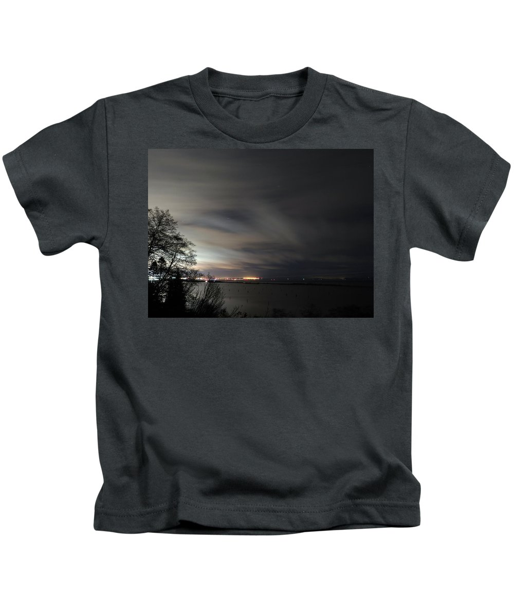 Night Photography Kids T-Shirt featuring the photograph Thursday February 4 2016 by Darrell MacIver