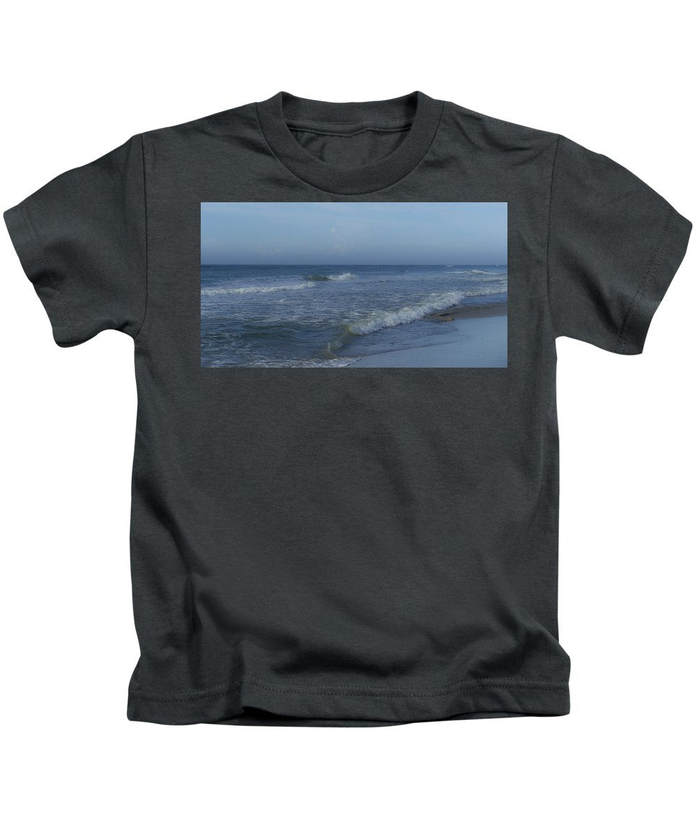 Tide Kids T-Shirt featuring the photograph Tide Rolling In Ocean Isle Beach North Carolina by Teresa Mucha
