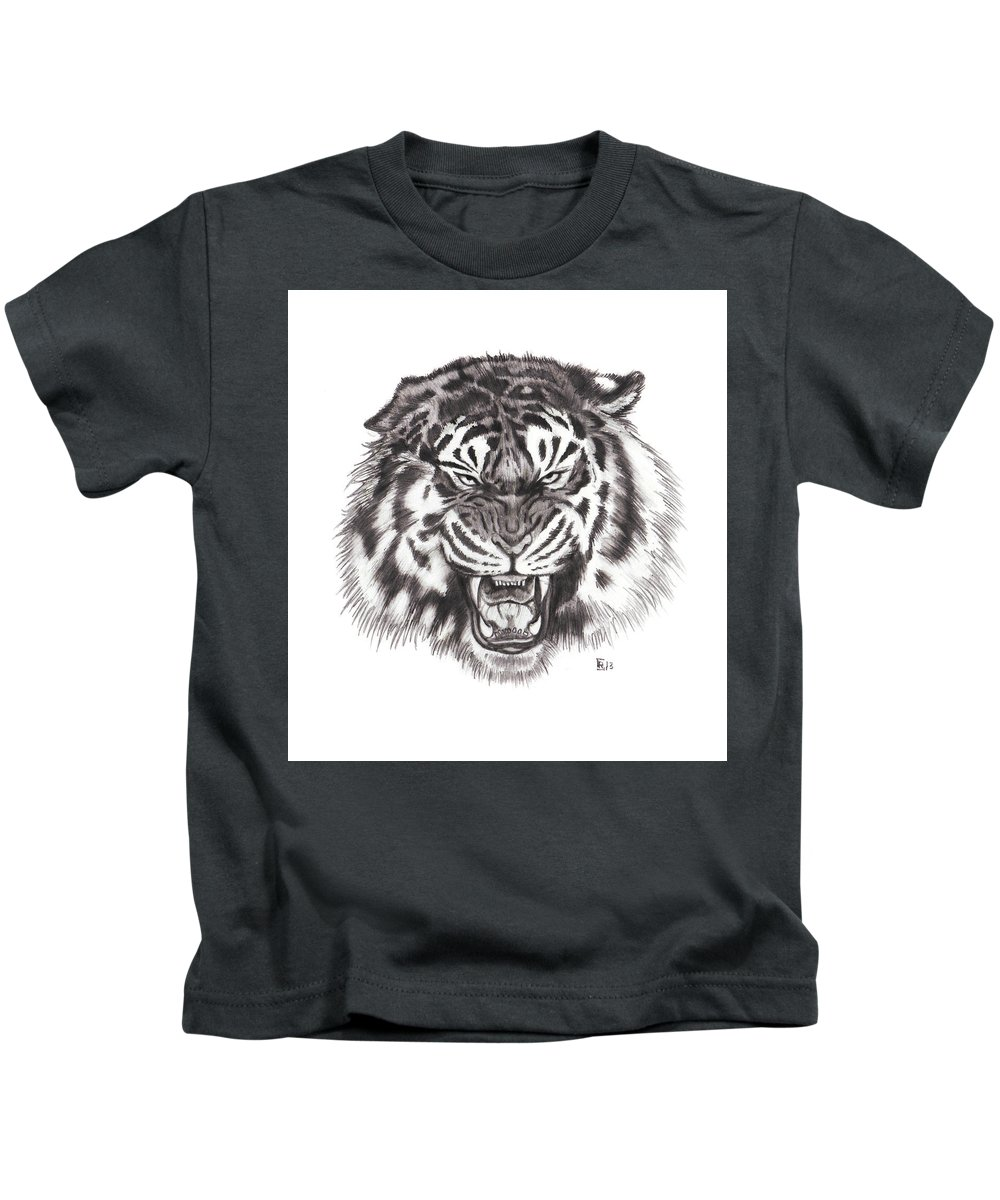 Tiger Kids T-Shirt featuring the drawing Tiger by Chris Randall