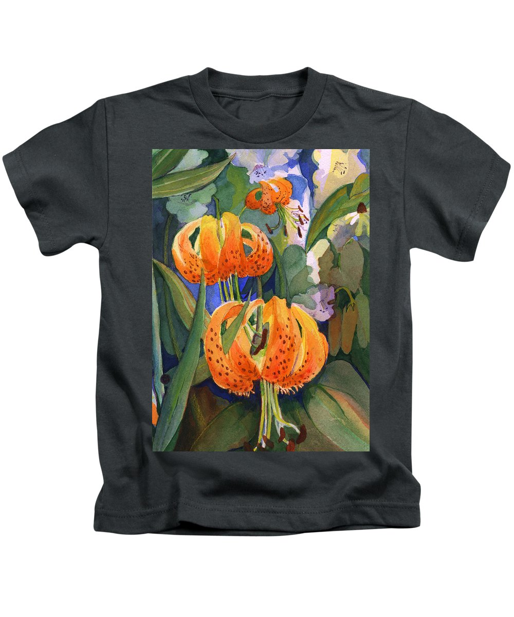 Flower Kids T-Shirt featuring the painting Tiger Lily Parachutes by Nancy Watson