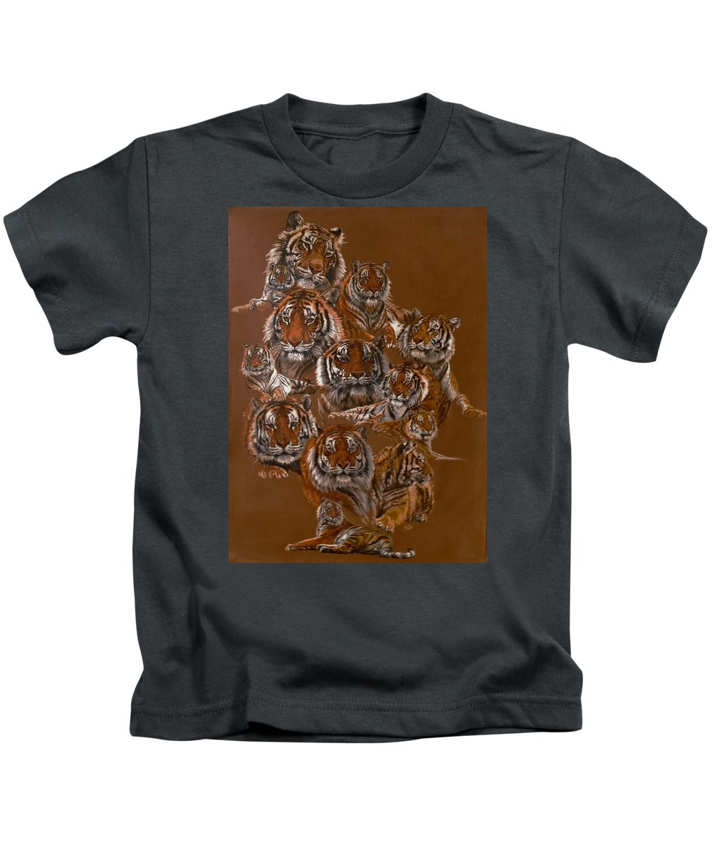 Tiger Kids T-Shirt featuring the drawing Tigers of Noah's Lost Ark Sanctuary by Barbara Keith