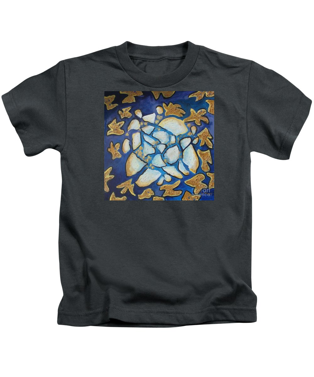 Abstract Kids T-Shirt featuring the painting Tikkun Olam Heal The World by Laurie Morgan