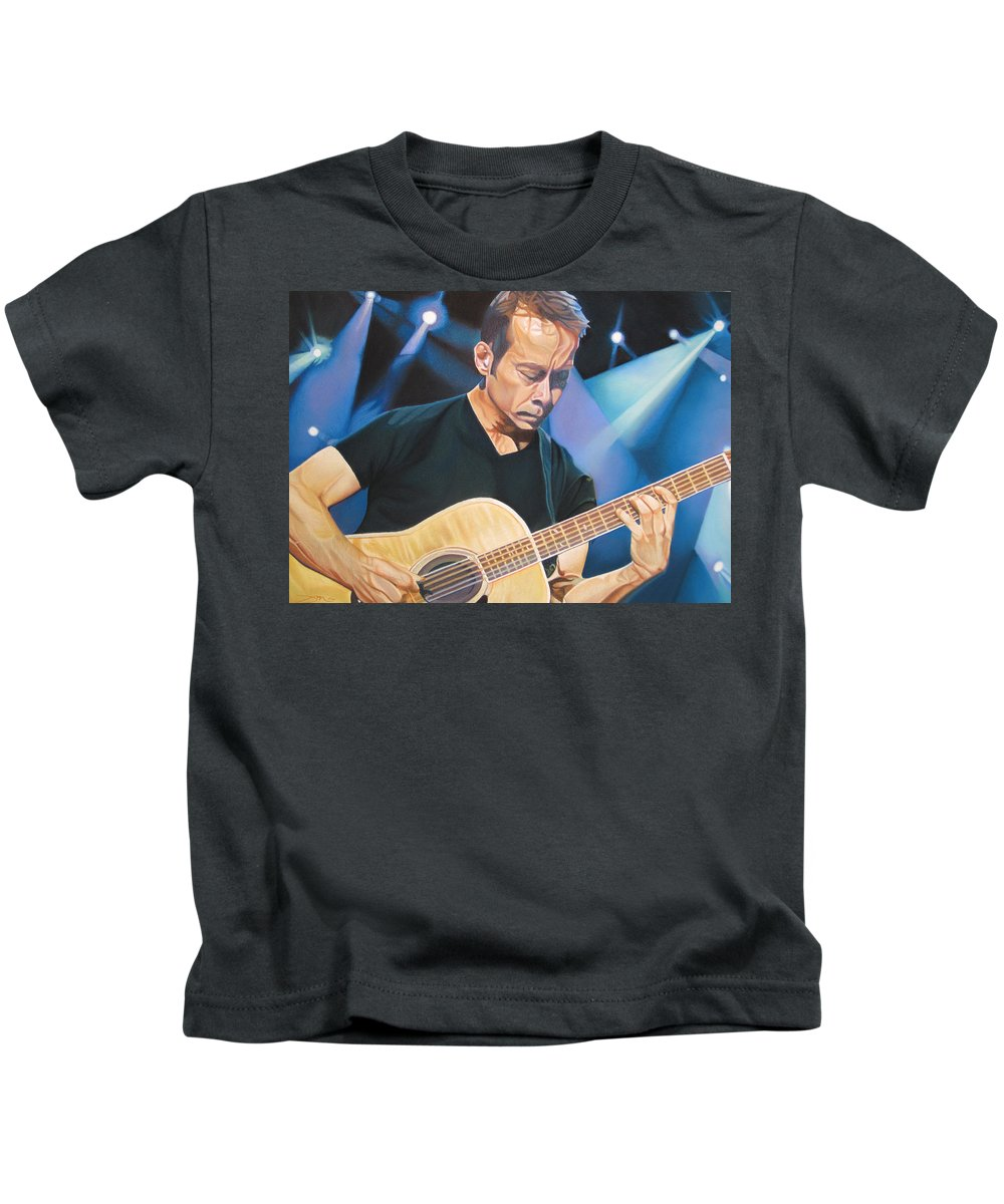 Tim Reynolds Kids T-Shirt featuring the drawing Tim Reynolds And Lights by Joshua Morton